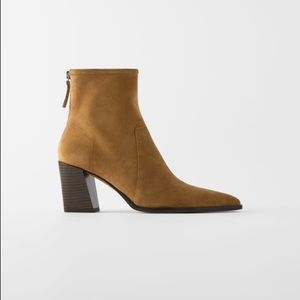 ZARA Soft Split Suede High Heel Ankle Boot